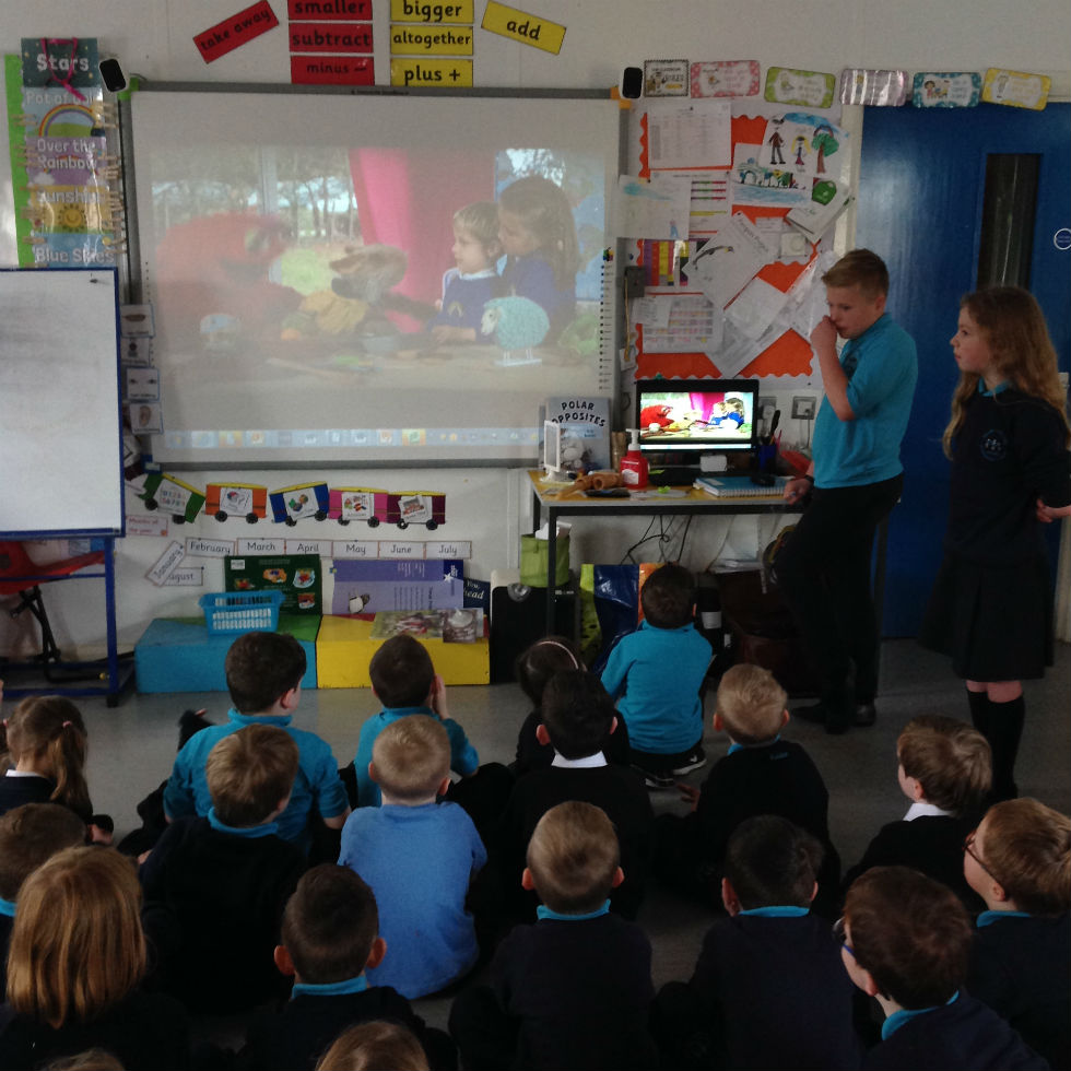 The P 6 Tech Team showed us how to stay safe using an online video.